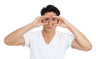 Curious man peeking, monitoring situation, white background