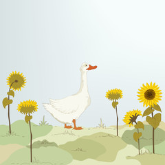 Goose and sunflowers