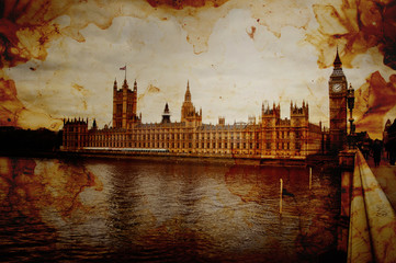 Vintage Retro Picture of Houses of Parliament in London