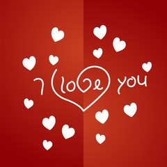 I love you white red background vector