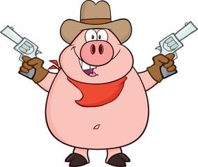 Cowboy Pig Cartoon Character Holding Up Two Revolvers