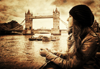Vintage Retro Picture of Girl in Front of Tower Bridge, London