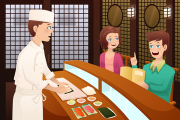Customers ordering sushi