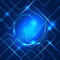 Abstract technology blue ball. Vector background.