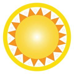 Sun isolated on white. Vector art