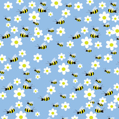 Seamless bees and flowers pattern