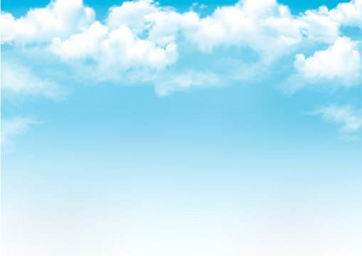 Blue sky with clouds. Vector background