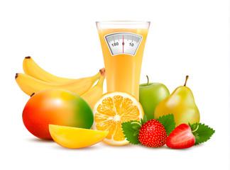 Group of healthy fruit. Diet concept. Vector.