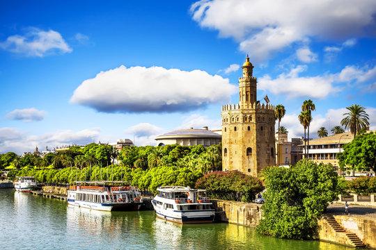 Golden tower (Torre del Oro) in Sevilla, Andalusia, Spain.