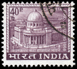 INDIA - CIRCA 1968: A stamp printed in India shows Main Post Off
