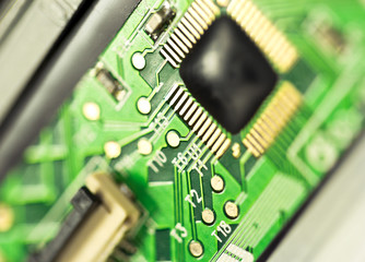 Detail of electronic board ,Macro with extremely shallow dof.