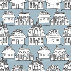 sketch houses seamless pattern