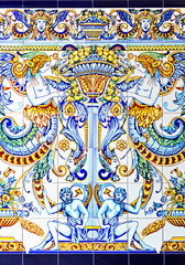 Art Nouveau decorative tile, background, fantasy