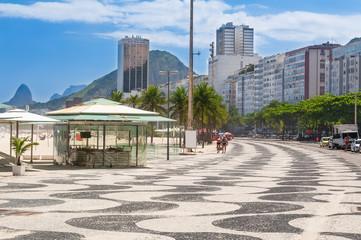 View of Copacabana with mosaic of sidewalk in Rio de Janeiro
