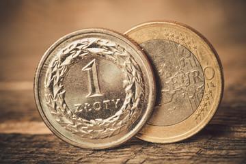 Polish money on wooden table