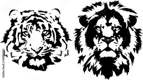 Fototapete tiger and lion heads in black interpretation