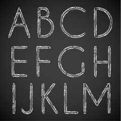 Chalk drawn alphabet characters collection