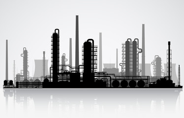Oil refinery silhouette. Vector illustration.