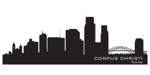 Corpus Christi Texas city skyline vector silhouette