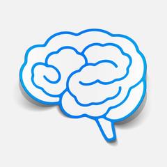 brain sticker, realistic design element