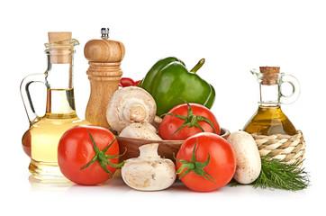 Fresh vegetables and mushrooms