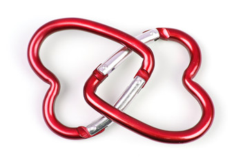 two connected heart shaped carabiner