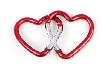 two linked heart shaped carabiner