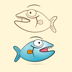 Fish With Teeth. Blue Vector Fish and Brown Outlined.