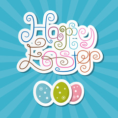 Happy Easter Paper Retro Blue Background