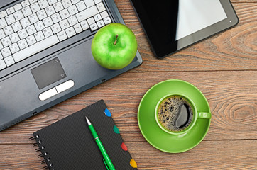 green apple on worplace