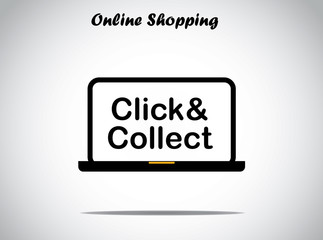 online shopping design concept click and collect text laptop