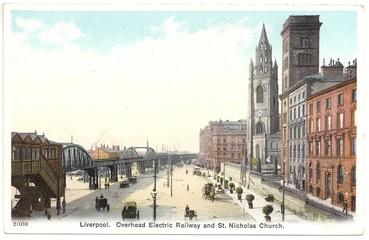 Liverpool, Hochbahn im Stadtzentrum 1908 (col. Postkarte)