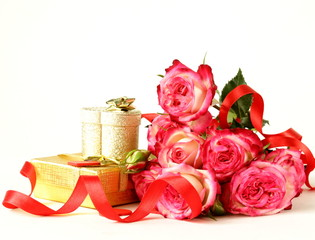 bouquet of roses and gift box on a white background