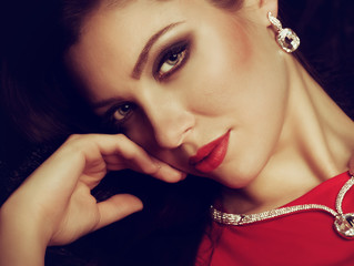 woman with makeup and with jewelry precious decorations.