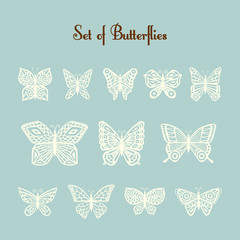 Set of vector of silhouette of butterflies.