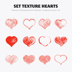 Set of vector texture hearts.