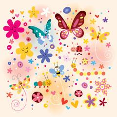 butterflies beetles flowers