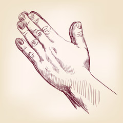 Praying Hands drawing vector illustration realistic sketch