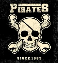 vintage pirate skull mascot