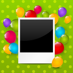 Birthday photo frame with color balloons