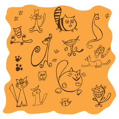 Set of various cats Drawings - Illustration