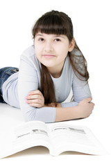 Teen girl learns lessons on an isolated white background