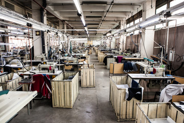 Inside a factory sewing