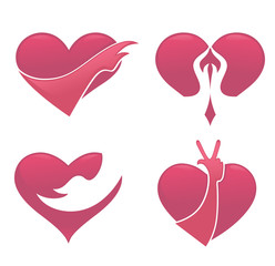 love and hands, vector collection of hearts and palms