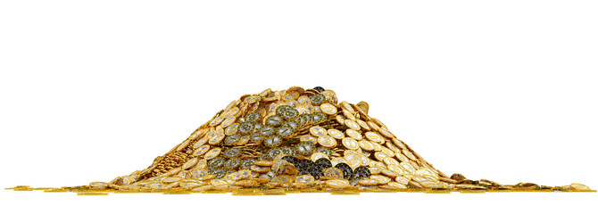 Big pile of golden Bitcoins - isolated on white Wall mural