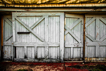 Rustic old white barn doors