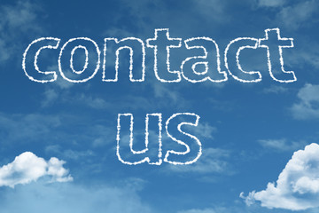 Contact us text on clouds