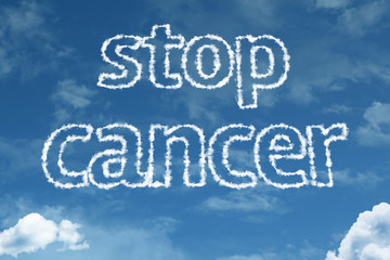 Stop Cancer text on clouds