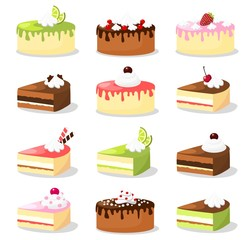 Cute retro set of cakes, vector illustrations