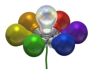 Flower of many-colored and pearl light bulbs on green wire